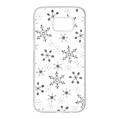 Black Holiday Snowflakes Samsung Galaxy S7 Edge White Seamless Case by Mariart