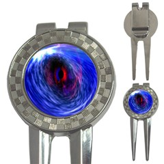 Blue Red Eye Space Hole Galaxy 3 In 1 Golf Divots by Mariart