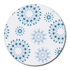 Blue Winter Snowflakes Star Triangle Round Mousepads by Mariart