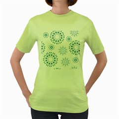 Blue Winter Snowflakes Star Triangle Women s Green T Shirt