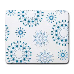 Blue Winter Snowflakes Star Triangle Large Mousepads by Mariart