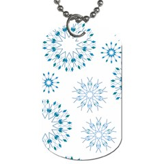 Blue Winter Snowflakes Star Triangle Dog Tag (one Side) by Mariart