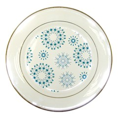 Blue Winter Snowflakes Star Triangle Porcelain Plates by Mariart