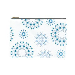 Blue Winter Snowflakes Star Triangle Cosmetic Bag (large)  by Mariart