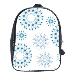 Blue Winter Snowflakes Star Triangle School Bag (large)