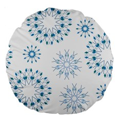 Blue Winter Snowflakes Star Triangle Large 18  Premium Round Cushions