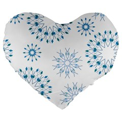 Blue Winter Snowflakes Star Triangle Large 19  Premium Heart Shape Cushions by Mariart