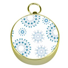 Blue Winter Snowflakes Star Triangle Gold Compasses by Mariart