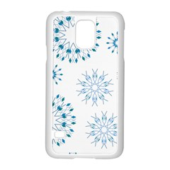 Blue Winter Snowflakes Star Triangle Samsung Galaxy S5 Case (white) by Mariart