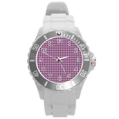 Pattern Grid Background Round Plastic Sport Watch (l)