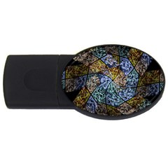 Multi Color Tile Twirl Octagon Usb Flash Drive Oval (4 Gb) by Nexatart