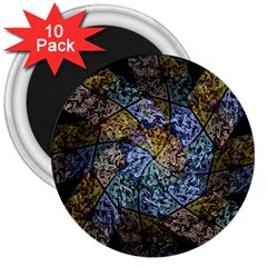 Multi Color Tile Twirl Octagon 3  Magnets (10 Pack)