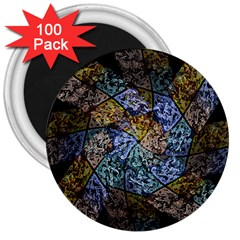 Multi Color Tile Twirl Octagon 3  Magnets (100 Pack) by Nexatart