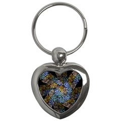 Multi Color Tile Twirl Octagon Key Chains (heart)