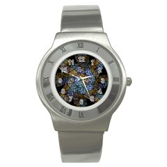 Multi Color Tile Twirl Octagon Stainless Steel Watch by Nexatart