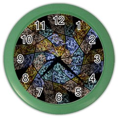 Multi Color Tile Twirl Octagon Color Wall Clocks by Nexatart