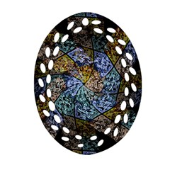 Multi Color Tile Twirl Octagon Oval Filigree Ornament (two Sides) by Nexatart