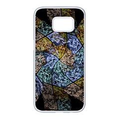Multi Color Tile Twirl Octagon Samsung Galaxy S7 Edge White Seamless Case by Nexatart