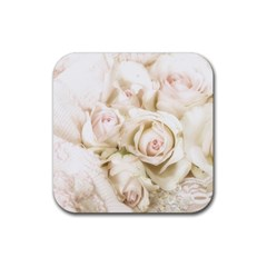 Pastel Roses Antique Vintage Rubber Coaster (square)  by Nexatart