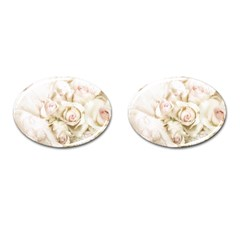 Pastel Roses Antique Vintage Cufflinks (oval) by Nexatart