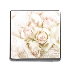 Pastel Roses Antique Vintage Memory Card Reader (square) by Nexatart