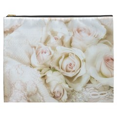Pastel Roses Antique Vintage Cosmetic Bag (xxxl)  by Nexatart