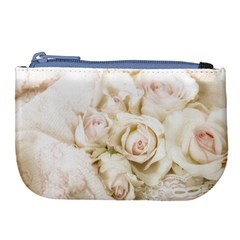 Pastel Roses Antique Vintage Large Coin Purse by Nexatart