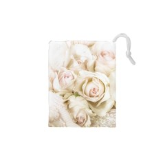 Pastel Roses Antique Vintage Drawstring Pouches (xs)  by Nexatart