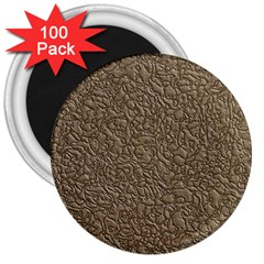 Leather Texture Brown Background 3  Magnets (100 Pack) by Nexatart