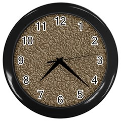 Leather Texture Brown Background Wall Clocks (black)