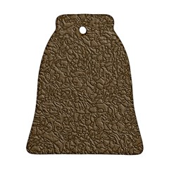 Leather Texture Brown Background Ornament (bell)