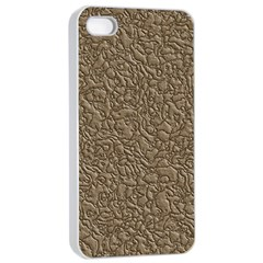 Leather Texture Brown Background Apple Iphone 4/4s Seamless Case (white)