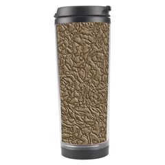 Leather Texture Brown Background Travel Tumbler by Nexatart