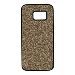 Leather Texture Brown Background Samsung Galaxy S7 Black Seamless Case by Nexatart