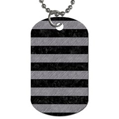 Stripes2 Black Marble & Gray Colored Pencil Dog Tag (one Side) by trendistuff