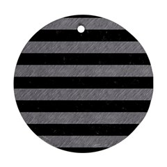 Stripes2 Black Marble & Gray Colored Pencil Round Ornament (two Sides) by trendistuff