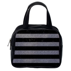 Stripes2 Black Marble & Gray Colored Pencil Classic Handbags (one Side) by trendistuff