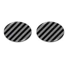 Stripes3 Black Marble & Gray Colored Pencil Cufflinks (oval) by trendistuff