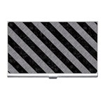 STRIPES3 BLACK MARBLE & GRAY COLORED PENCIL (R) Business Card Holders Front