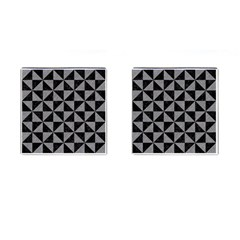 Triangle1 Black Marble & Gray Colored Pencil Cufflinks (square) by trendistuff