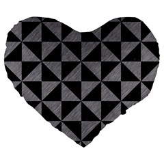 Triangle1 Black Marble & Gray Colored Pencil Large 19  Premium Heart Shape Cushions by trendistuff