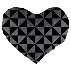 Triangle1 Black Marble & Gray Colored Pencil Large 19  Premium Flano Heart Shape Cushions by trendistuff
