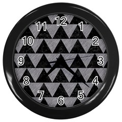 Triangle2 Black Marble & Gray Colored Pencil Wall Clocks (black) by trendistuff