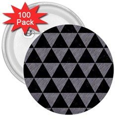Triangle3 Black Marble & Gray Colored Pencil 3  Buttons (100 Pack)  by trendistuff