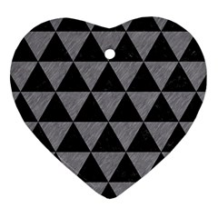 Triangle3 Black Marble & Gray Colored Pencil Heart Ornament (two Sides) by trendistuff
