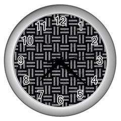 Woven1 Black Marble & Gray Colored Pencil Wall Clocks (silver)  by trendistuff