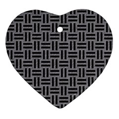 Woven1 Black Marble & Gray Colored Pencil (r) Ornament (heart) by trendistuff