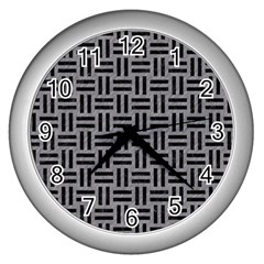 Woven1 Black Marble & Gray Colored Pencil (r) Wall Clocks (silver)  by trendistuff