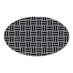 Woven1 Black Marble & Gray Colored Pencil (r) Oval Magnet by trendistuff