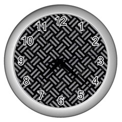 Woven2 Black Marble & Gray Colored Pencil Wall Clocks (silver)  by trendistuff
